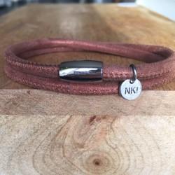 Bracelet 2 tours daim brun...