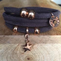 Bracelet 4 tours daim Brun...