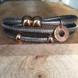 Bracelet 3 tours cuir Brun...