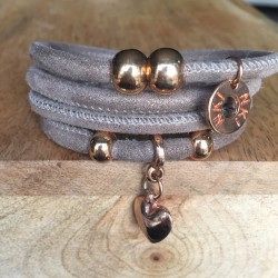 Bracelet 4 tours daim Beige...