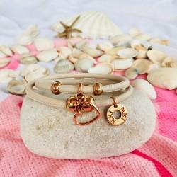 Bracelet 2 tours cuir Beige...