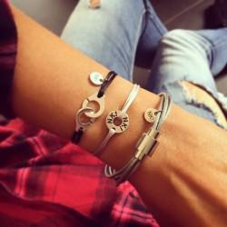 Bracelet cordon Menottes Noir