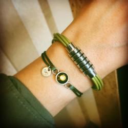 Bracelet 1 tour cuir Vert...
