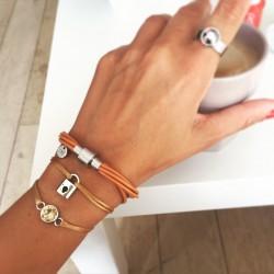 Bracelet 1 tour cuir Camel...