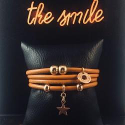Bracelet 4 tours cuir camel...
