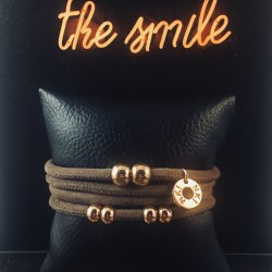 Bracelet 4 tours daim taupe...