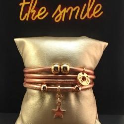 Bracelet 4 tours cuir doré...