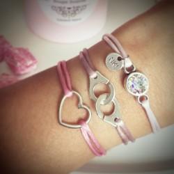 Bracelet Cordon RosePâle...